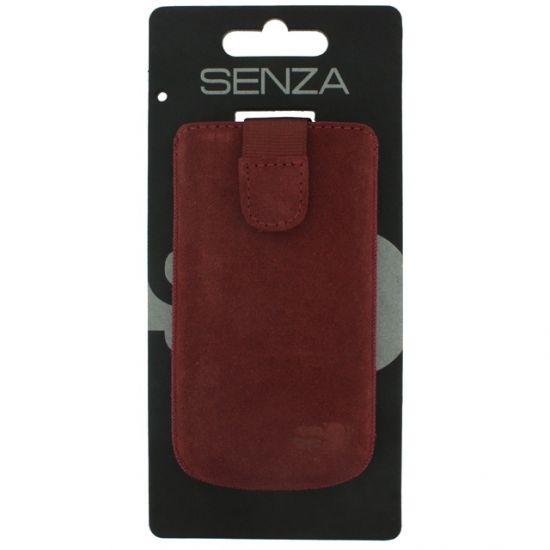 Senza Slide - Etui À languette coulissante en Cuir véritable Universel XL - Rusty Red