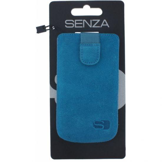 Senza Slide - Etui À languette coulissante en Cuir véritable Universel XL - Deep Blue