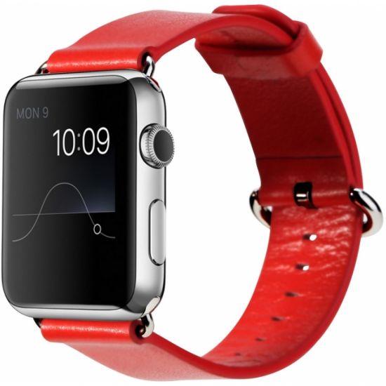 Rock - Bracelet en Cuir véritable pour Apple Watch 45mm / 44mm / 42mm - Rouge