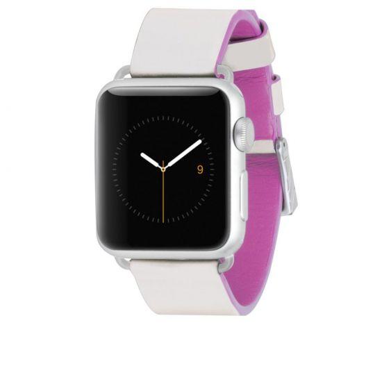 Case Mate Edged Strap - Bracelet en Cuir véritable pour Apple Watch 41mm / 40mm / 38mm - Blanc / Rose