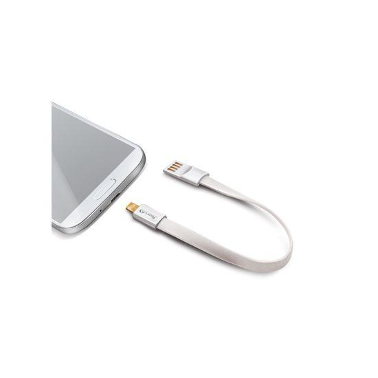 Celly Keychain - Câble USB-A vers Micro USB 2 mètres - Blanc