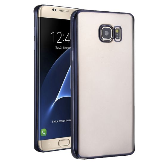 Mobigear Royal - Coque arrière en TPU pour Samsung Galaxy S7 Edge - Transparent / Noir
