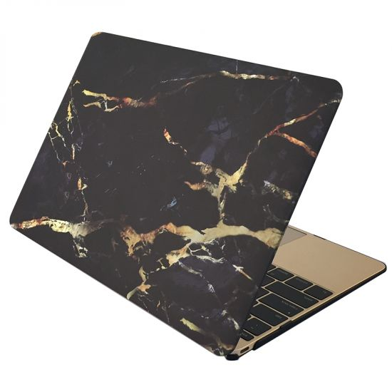 Mobigear Marble - Housse en Plastique rigide pour MacBook 12 pouces - Noir / Or