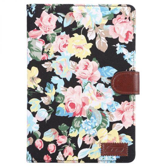 Mobigear Folio - Etui en Coton pour iPad Mini 4 (2015) - Fleurs Noir