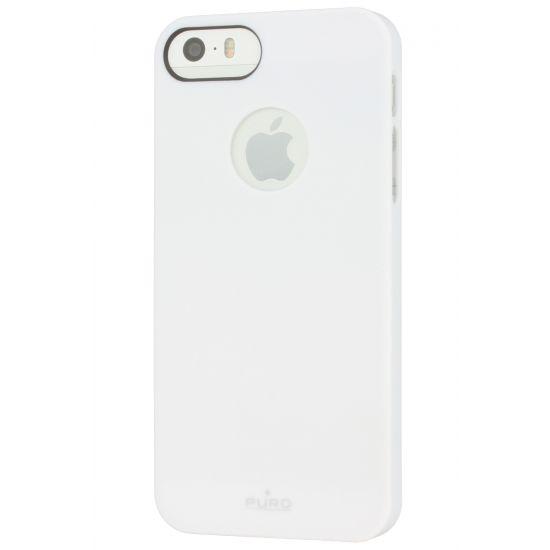 Puro Soft Touch - Coque arrière en Plastique rigide pour iPhone SE (2016) / 5S / 5 - Blanc