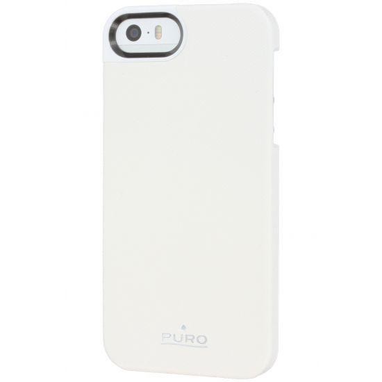 Puro Eco-Leather - Coque arrière pour iPhone SE (2016) / 5S / 5 - Blanc