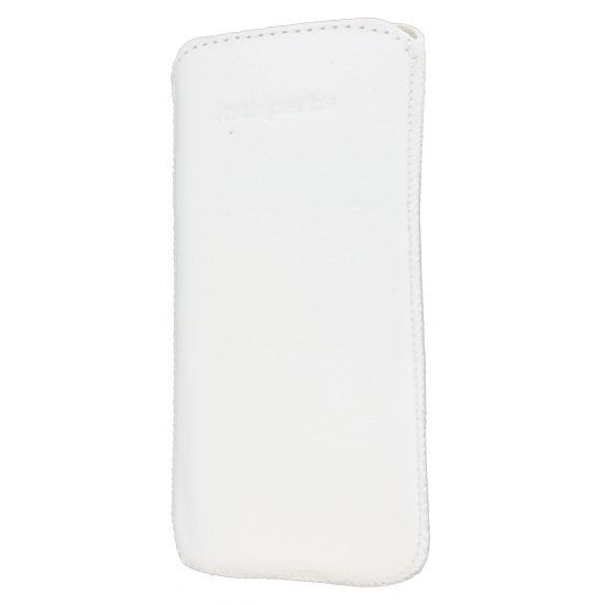 Mobiparts Luxury Pouch - Etui À languette coulissante en Cuir véritable pour iPhone SE (2016) / 5S / 5C / 5 - Blanc